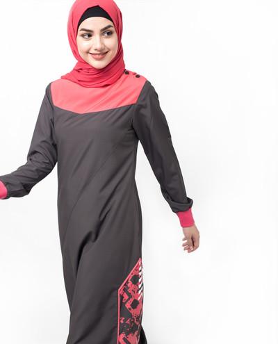 Grey And Pink Print Jilbab