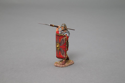 Thomas Gunn Miniatures ROM011 Legionnaire launching Pilum (red shield) Roman Empire