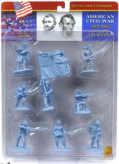Conte Collectibles American Civil War Plastic Figures Union Infantry Set One in Blue