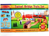 Melissa & Doug 704 Wooden Swivel Bridge Train Set Preschool Toys
