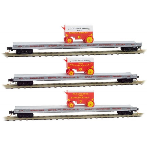 Micro-Trains 99301400 Ringling Bros Barnum Bailey 70' Flat Car 3-Pack N Scale