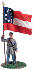 W Britain 31132 American Civil War Confederate Infantry Color Sergeant At Rest, First National Colors No.1