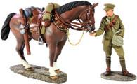W Britain 23063 World War I British Lancer Feeding Horse 1916-1918