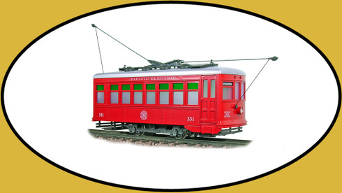 Hartland Locomotive Works Birney Trolley Pacific Electric Red 9300