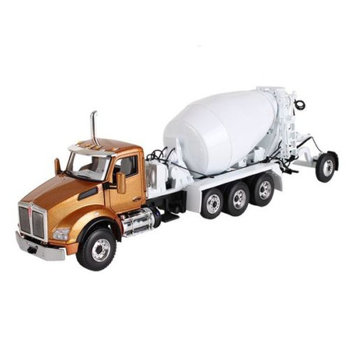 First Gear 50-3316 Kenworth T880 & McNeilus Bridgemaster Mixer Aztec Gold/White