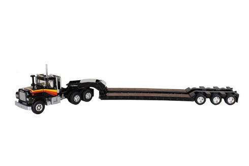 First Gear Mack R With Tri Axle Lowboy Trailer Black Yellow Orange 60-0270 1:64