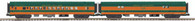 MTH Electric Trains O Scale Premier 2-Car 70' Streamlined Baggage/Coach Passenger Set (Smooth Sided) Great Northern 20-69229
