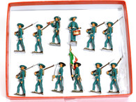 Mignot Toy Soldiers Italian Light Infantry Vintage Set 107 Ter Bersaglieri 12 Pieces