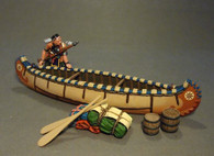 John Jenkins Designs CAN-05 Battle On the Monongahela Woodland Indian With Canoe 1/30 scale