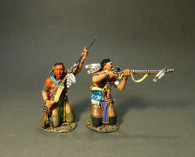 John Jenkins Designs CAN-04A Battle On the Monongahela Woodland Indians Kneeling, Firing And Loading A