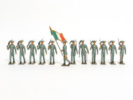 Mignot Toy Set Soldiers Italian Light Infantry Vintage Set Bersaglieri 12 Pieces Light Grey Uniforms