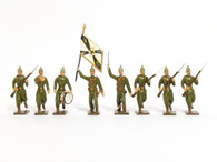 Mignot Toy Set Soldiers Prussian Light Infantry Winter Coats Vintage Set 75A 8 Pieces