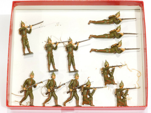 Mignot Toy Set Soldiers Prussian Light Infantry Vintage Set 12 Pieces