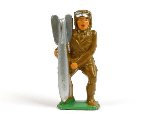Manoil #85 Toy Soldiers Aviator Holding Bomb American Dimestore