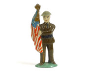 Grey Iron Toy Soldiers GI-001, WWI Soldier holding American flag with tin hat