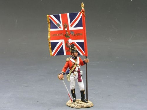 King & Country Soldiers NA127 Age Of Napoleon CG Officer With Kings Colour 1/30