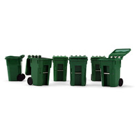 First Gear 90-00519 Set of Six Plastic Trash Carts 1/34 Scale
