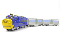 Chuggington 40901 Brewster Diesel Locomotive and two Chuggington 48006 Passenger Cars O Gauge