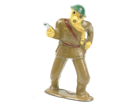 Barclay 778 Gas Mask Figure with Pistol American Dimestore Toy Soldiers