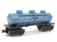Louis Marx 5553 All-State Motor Oil Triple Dome Tank Car in Blue