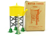 Louis Marx Trains 065 Plastic Water Tower with Spout Yellow and Green
