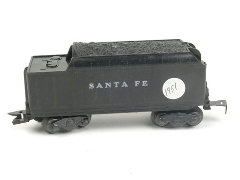 Marx Trains 1951 Tender Santa Fe Lines 8 Wheel Plastic Black O/O27 Gauge