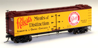 MTH Model Trains Set HO Scale R40-2 Wood Sided Refrigerator Car Roberts and Oak Meats Car No 1007