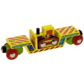 BigJigs Wooden Railway Bulldozer Low Loader Wagon BJT415