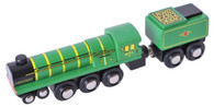 BigJigs Wooden Railway Heritage Collection Green Arrow Train Engine BJT439