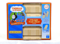"""Thomas & Friends Wooden Railway 4"""" Straight Track & Road Pack"""