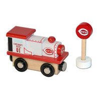 Officially Licensed MLB Cincinnati Reds Baseball Wooden Railway Train Engine