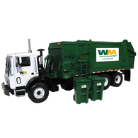First Gear Diecast Collectible Waste Management Mack TerraPro With Side Load Refuse With Carts 1/34 Scale