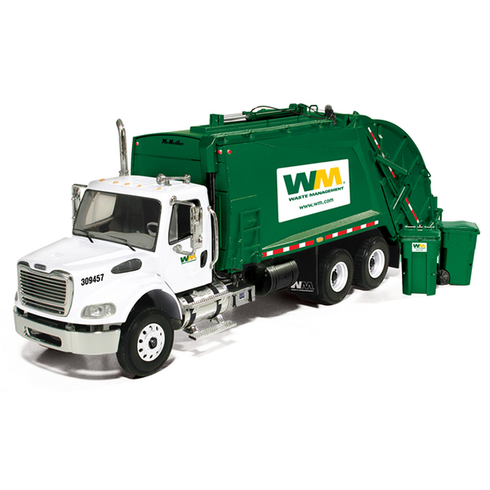 First Gear Diecast Collectible Waste Management Freightliner M-2 With McNeilus Rear Loader With Bins 1/34 Scale (10-3287T)