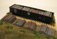 Monroe Models HO Scale Painted Cast Resin Weathered Railroad Tie Stacks Four Pack