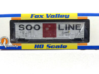 Fox Valley Models HO Scale Trains Soo Line Colormark 7 Post Box Car With X Panel Roof Road Number 18524