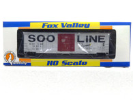 Fox Valley Models HO Scale Trains Soo Line Colormark 7 Post Box Car With X Panel Roof Road Number 18562