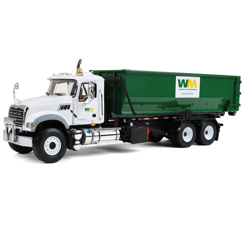 First Gear Diecast Collectible Waste Management Mack Granite With Tub-Style Roll-Off Container 1/34 Scale