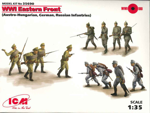 ICM WWI Eastern Front Austro-Hungarian German Russian Infantries Plastic Toy Soldiers 35690