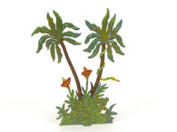 Hornung Art Double Palm Trees With Yellow and Green Snake 6SP Flat Hand Painted Metal Cast