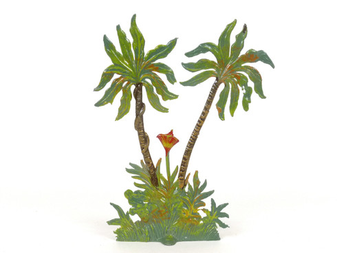 Hornung Art Double Palm Trees Red Brown Snake 6SP1 Flat Hand Painted Metal Cast
