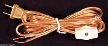 8 Foot Gold Lamp Cord Set with Rotary On/off Switch & End Plug -Wholesale