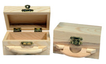 Creative Hobbies® Unfinished Mini Wood Box with Handle and Hinged Lid with Clasp Closure -Pack of 4 Boxes