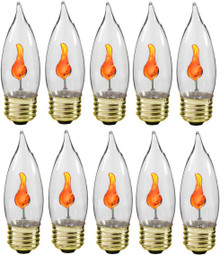 Creative Hobbies® 10J Flicker Flame Light Bulb -Flame Shaped, Standard Base, Flickering Orange Glow - Box of 10 Bulbs