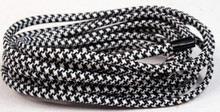 Creative Hobbies® Black and White Houndstooth Pattern Nylon Cloth Covered Wire, Antique Vintage Style Electrical Lamp Cord, 18/2 SPT-1 - 2 Wire Parallel Cord, 10 Feet
