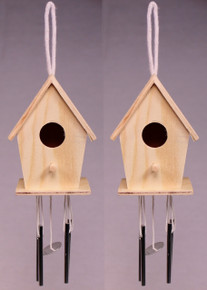 Creative Hobbies® Mini 4 Inch Tall Birdhouse Windchimes, Set of 2, Unfinished Wood Ready to Paint or Decorate