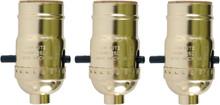 Push Thru Lamp Sockets, Standard Edison Base, Bright Brass Color, Pack of 3