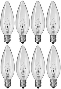 Creative Hobbies® 7040T Chandelier Light Bulbs, 40 Watt, 2,500 Hour Life, 130 volt, E12 Candelabra Base, Wholesale Box of 8 Bulbs