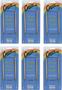 Creative Hobbies Deluxe Plate Display Hangers, Spring Style, Expandable to Hold 10 to 14 Inch Plates- Gold Wire Spring Type, Hanger Hooks & Nails Included -Pack of 6 Hangers