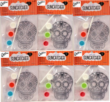 Creative Hobbies Suncatcher Craft Kits For Kids - 6 Complete Kits - Sugar Skulls - Great Group Project, Party Favor, Activity