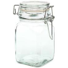 "GLASS JAR w/ LOCKING LID -4.75"" H x 2.5"" SQUARE -HOLDS 7 FL OZ ~CASE OF 36 JARS"
